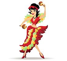 Latina beautiful girl dancing with maracas by devaleta