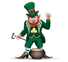 Joyful  leprechaun with a cauldron Photographic Print