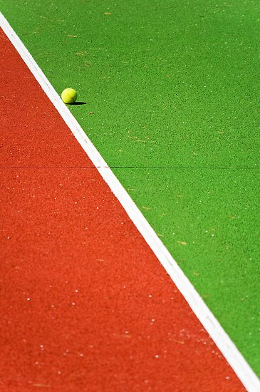 Red :: Green :: White Line and Tennis Ball by Silvia Ganora