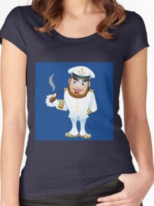 man in captain uniform with smoking tube Women's Fitted Scoop T-Shirt