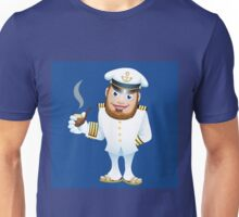 man in captain uniform with smoking tube Unisex T-Shirt