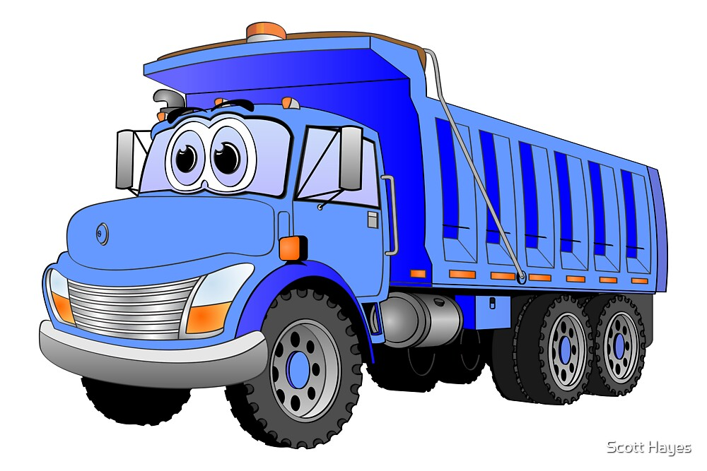 Blue Dump Truck 3 Axle Cartoon by Graphxpro