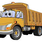 Brown Dumpt Truck 3 Axle Cartoon by Graphxpro