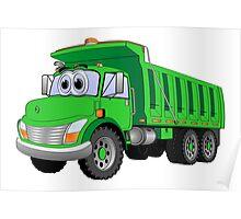 Green Dump Truck 3 Axle Cartoon Poster