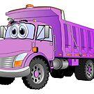 Purple Dump Truck 3 Axle Cartoon by Graphxpro