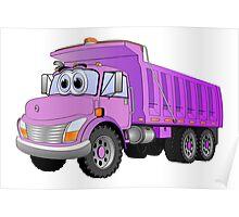 Purple Dump Truck 3 Axle Cartoon Poster