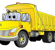 Yellow Dump Truck 3 Axle Cartoon by Graphxpro
