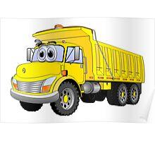 Yellow Dump Truck 3 Axle Cartoon Poster