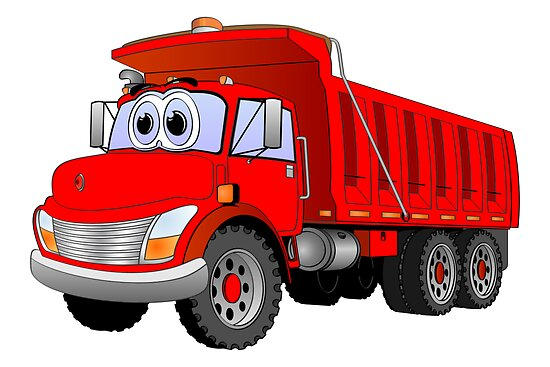 Red Dump Truck 3 Axle Cartoon by Graphxpro