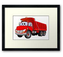 Red Dump Truck 3 Axle Cartoon Framed Print
