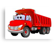 Red Dump Truck 3 Axle Cartoon Canvas Print