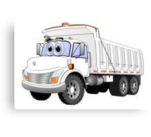 White Dump Truck 3 Axle Cartoon Canvas Print