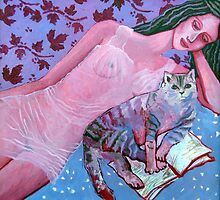 Purple lady, reading cat, opened book, flower and wine patterns by IvonaTorovin