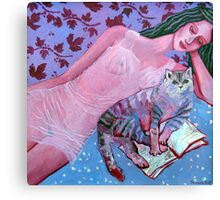 Purple lady, reading cat, opened book, flower and wine patterns Canvas Print