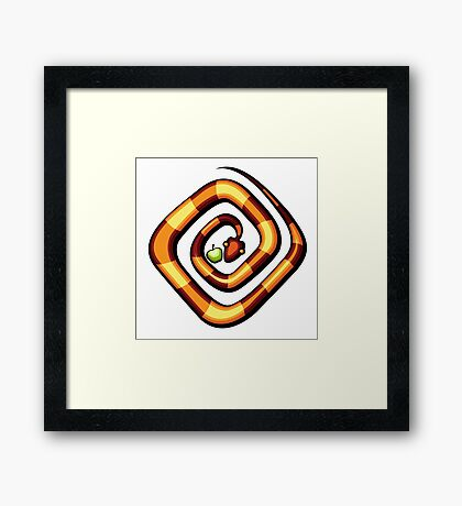 vector illustration of snake and apple laying on a dune Framed Print