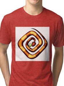 vector illustration of snake and apple laying on a dune Tri-blend T-Shirt