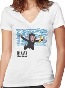 Banana Nirvana Women's Fitted V-Neck T-Shirt