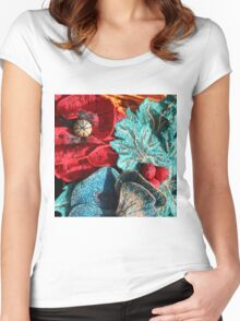 Poppy Machine Embroidery 5 Women's Fitted Scoop T-Shirt
