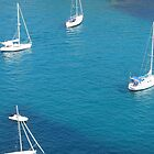Boats in a Menorcan bay. by Fara