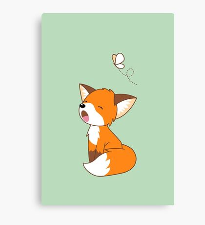 Cute Sleepy Little Fox Canvas Print