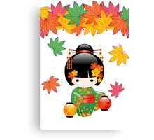Japanese Fall Kokeshi Doll Canvas Print