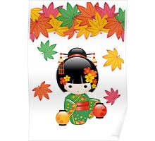 Japanese Fall Kokeshi Doll Poster