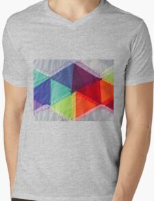 fabric with colors and geometric shapes Mens V-Neck T-Shirt