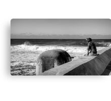 Watcher and the Waves - Newcastle Canvas Print