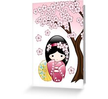 Japanese Spring Kokeshi Doll Greeting Card