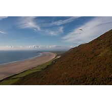 Paragliding at Rhossili Gower Photographic Print