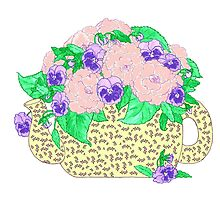 Peonies and Pansies by redqueenself