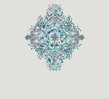 Floral Diamond Doodle in Teal and Turquoise Womens Fitted T-Shirt
