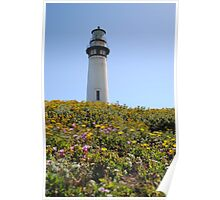 Pigeon Point Lighthouse Flowers Poster