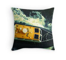 Pilot boat off the coast of Honolulu, HI Throw Pillow