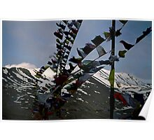 mountain prayers. kunzum pass, northern india Poster