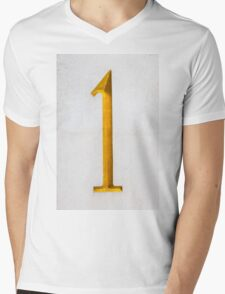 Golden number one on stone wall Mens V-Neck T-Shirt