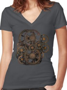 Infernal Vintage Steampunk Gears on your Gear Women's Fitted V-Neck T-Shirt