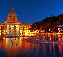 Colorful Water - AB Legislature at night by camfischer