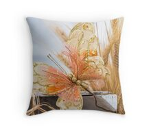 colored handmade butterfly Throw Pillow