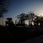 Dubai Skyline Silhouette by Helen Shippey