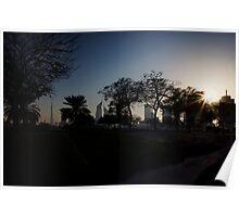 Dubai Skyline Silhouette Poster
