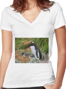 Gentoo Penguins on the Nest Women's Fitted V-Neck T-Shirt