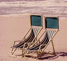 Empty Beach and Chairs by Debja