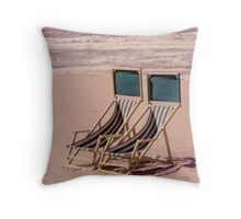 Empty Beach and Chairs Throw Pillow