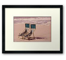 Empty Beach and Chairs Framed Print