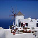 Oia Windmill, santorini Greece by saxonfenken