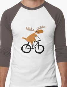 Funny Moose is Riding on a Bicycle Men's Baseball ¾ T-Shirt