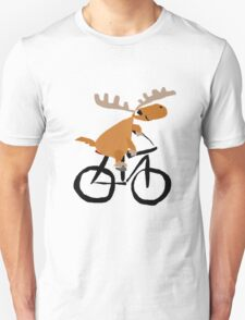 Funny Moose is Riding on a Bicycle Unisex T-Shirt