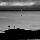 B&W Fishing sunset - Redcliffe Peninusla by John Kennedy