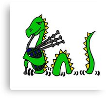 Funny Loch Ness Monster Playing the Bagpipes Canvas Print